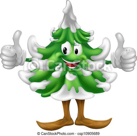 dessin animé, arbre, noël, homme - csp10905689