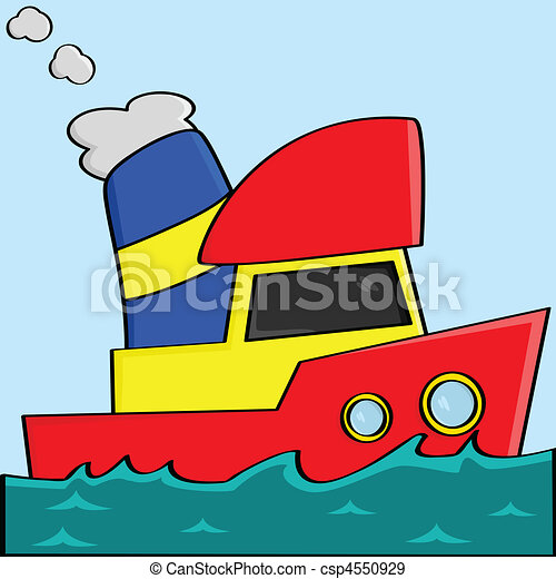 dessin animé, bateau - csp4550929