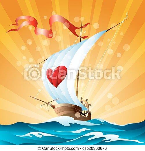 dessin animé, bateau - csp28368676