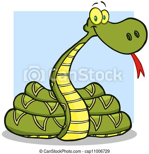 dessin animé, caractère, serpent, mascotte - csp11006729