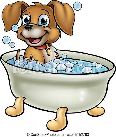 dessin animé, chien, bain - csp45152783