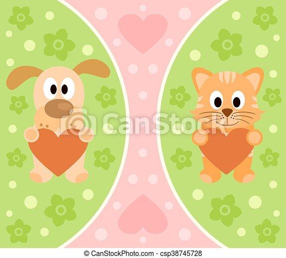 dessin animé, chien, fond, chat - csp38745728