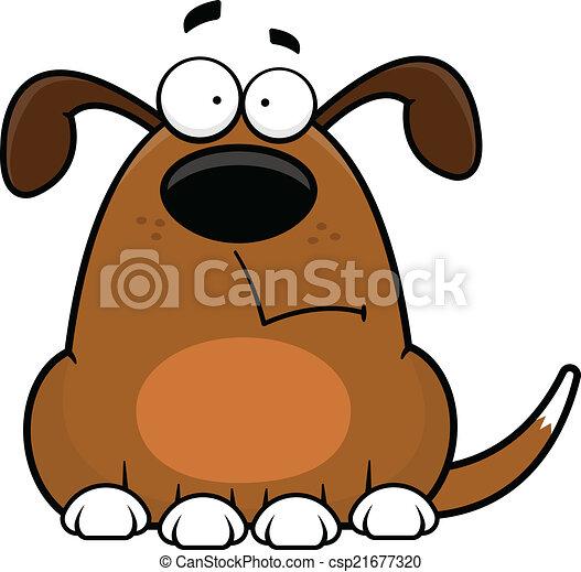 dessin animé, chien, rigolote, inquiété - csp21677320