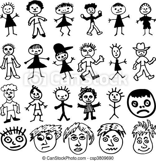 dessin animé, enfantin, dessins, crosse, gens - csp3809690