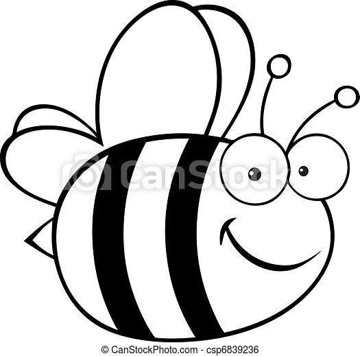 dessin animé, esquissé, mignon, abeille - csp6839236