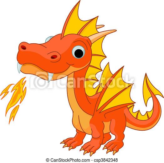 dessin animé, feu dragon - csp3842348