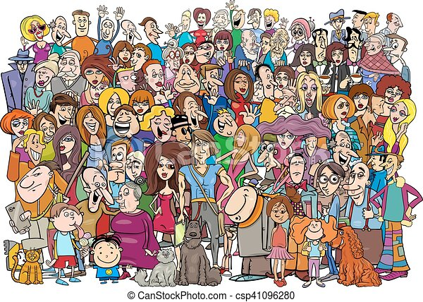 dessin animé, foule, gens - csp41096280