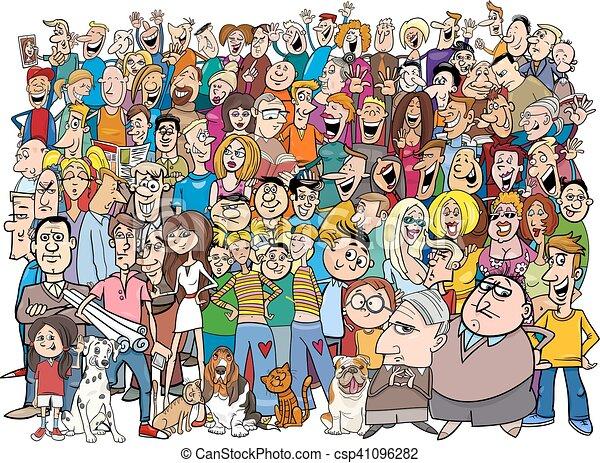 dessin animé, foule, gens - csp41096282