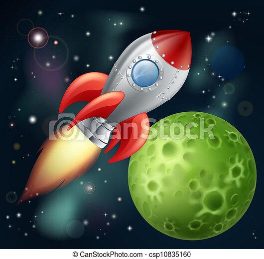 dessin animé, fusée, espace - csp10835160