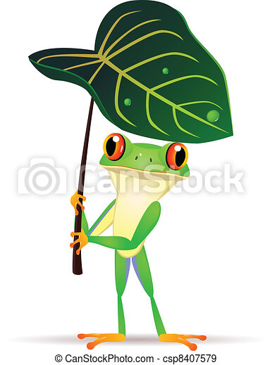 dessin animé, grenouille - csp8407579