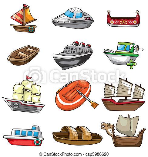 dessin animé, icône, bateau - csp5986620