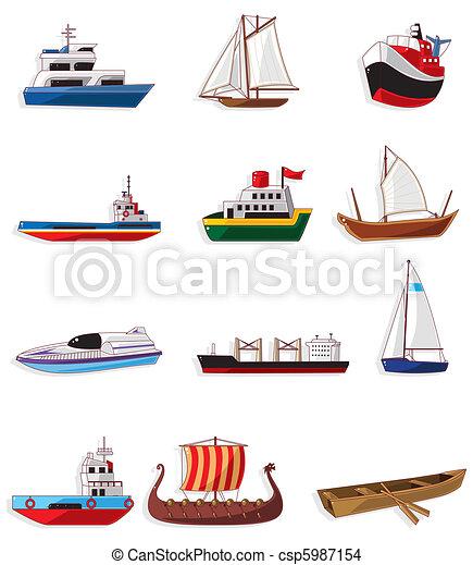 dessin animé, icône, bateau - csp5987154