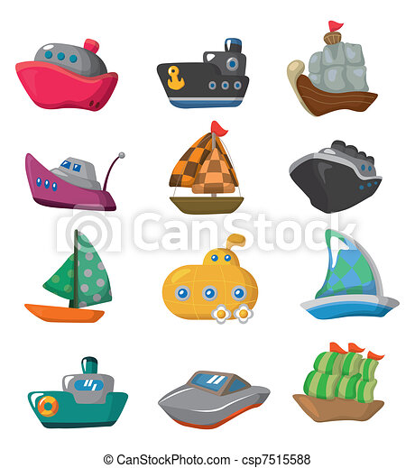 dessin animé, icône, bateau - csp7515588