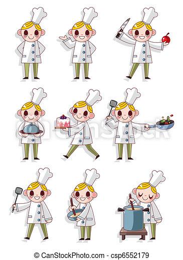 dessin animé, icône, chef cuistot - csp6552179