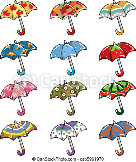 dessin animé, icône, parapluies - csp5961970