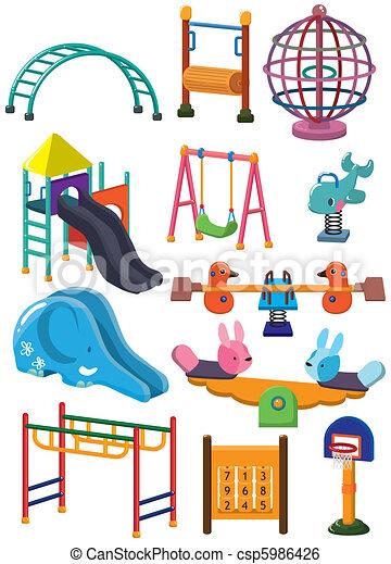 dessin animé, icône, parc, cour de récréation - csp5986426