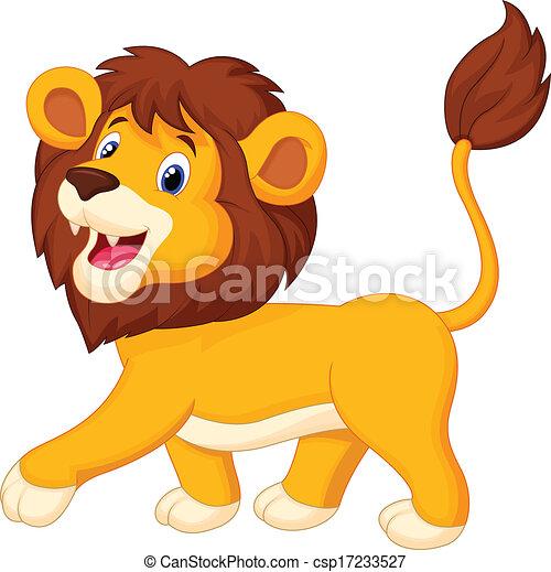 dessin animé, lion, marche - csp17233527
