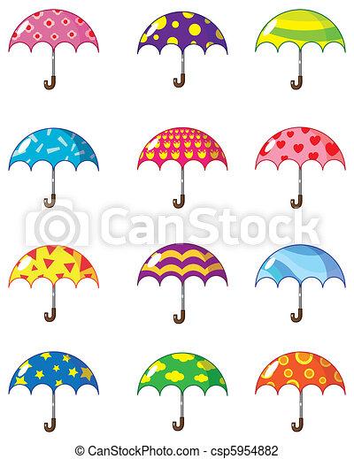 dessin animé, parapluies, icône - csp5954882