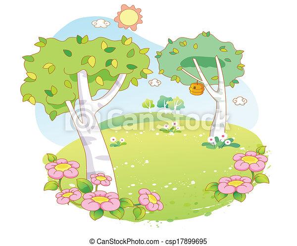 dessin animé, paysage, beau, arbres - csp17899695