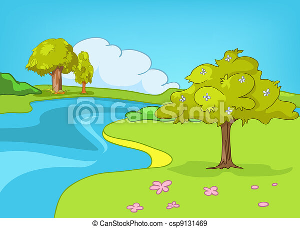 Dessin anim paysage nature nature isol arri re plan - Dessin de nature ...