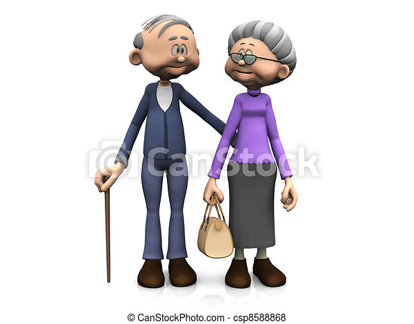 dessin animé, personnes agées, couple. - csp8588868