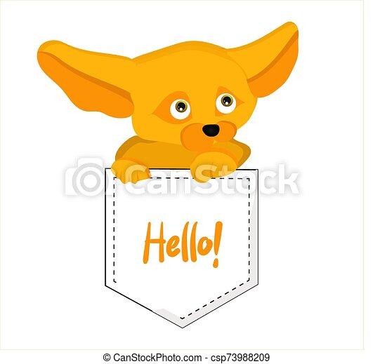 dessin animé, renard, caractère, illustration., mignon, vulpes, fenech., zerda., enfants - csp73988209