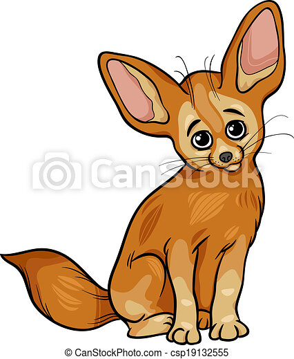 dessin animé, renard, fennec, illustration, animal - csp19132555