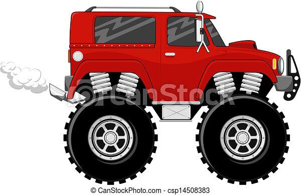 Dessin Animé Rouges Monstertruck Grand Isolé Illustration