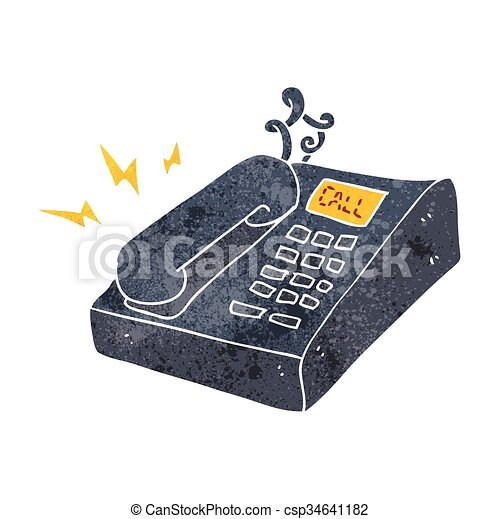 freehand dessin anim t l phone bureau retro vecteur search clip art illustration. Black Bedroom Furniture Sets. Home Design Ideas