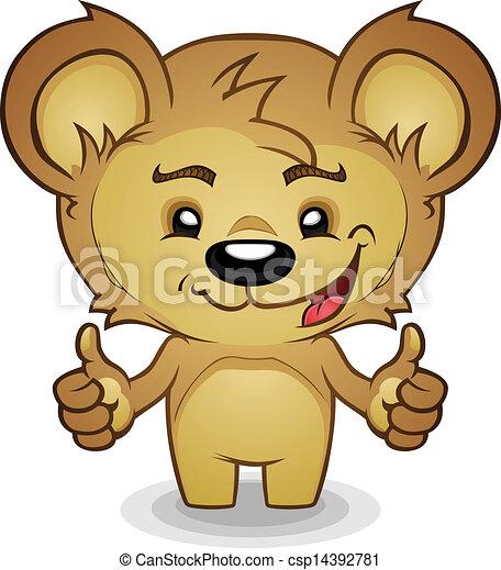 dessin animé, teddy, haut, ours, pouces - csp14392781