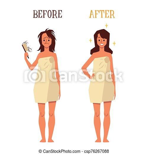 dessin animé, vecteur, illustration, isolated., cheveux, avant, plat, femme, après, traitement - csp76267088