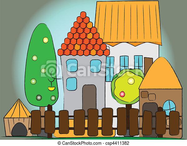 dessin animé, village - csp4411382