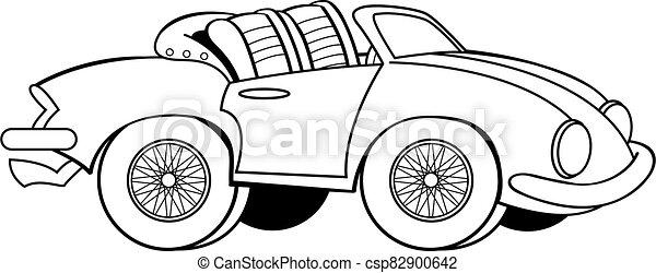 Dessin Anime Voiture Sport Sommet Cabriolet Vieux Bas Voiture Sport Sommet Cabriolet Illustration Noir Blanc Canstock