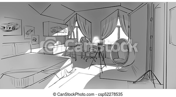 dessin, chambre à coucher