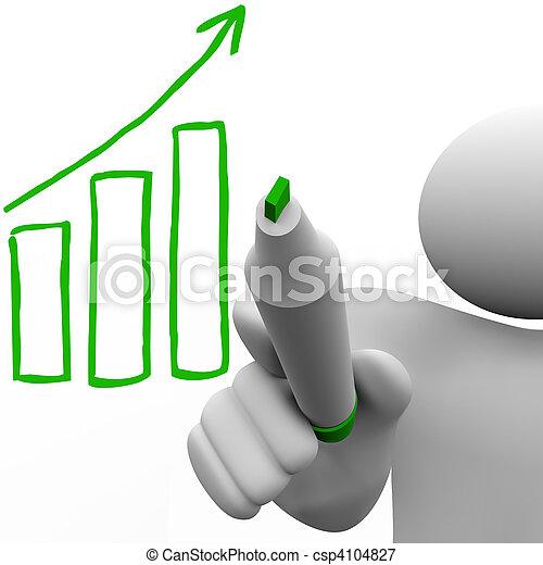 dessin, croissance, graphique barre, planche - csp4104827