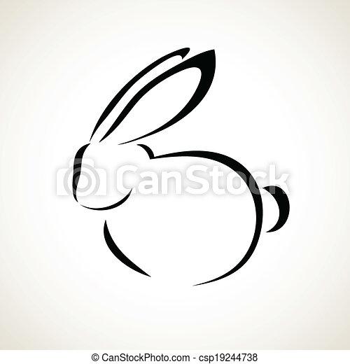 Souvent Vecteurs de dessin ligne, lapin - paques, carte, lapin, contour  OC61