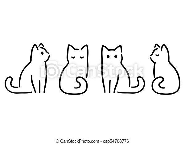 dessin, minimal, chat - csp54708776