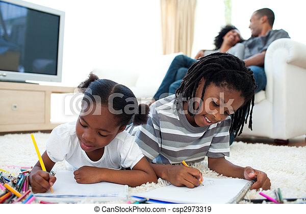 dessin, vif, enfants, mensonge, plancher - csp2973319