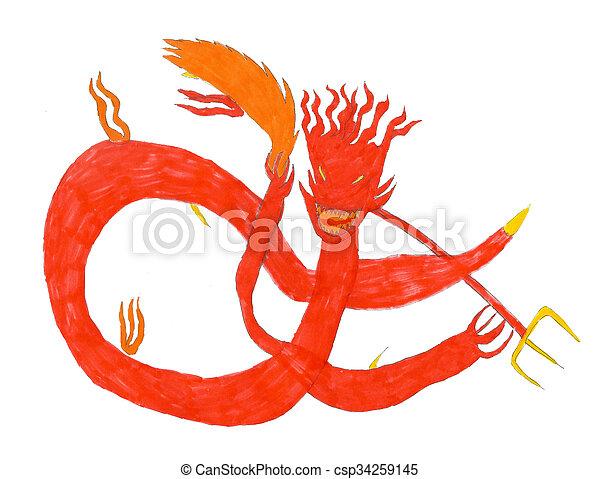 Dessiner diable monstre br ler illustration gosse - Dessiner un diable ...