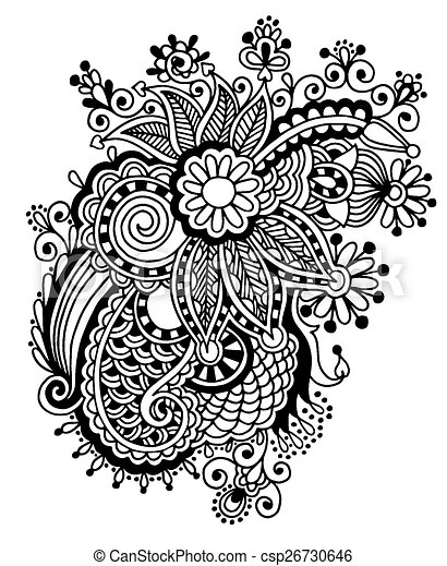 Dessiner Fleur Art Main Noir Orné Ligne Blanc Design