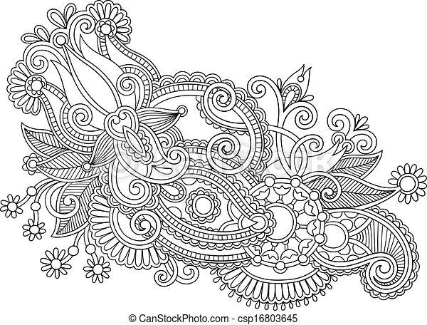 Dessiner Fleur Art Ukrainien Style Main Traditionnel Noir Orné Ligne Blanc Design