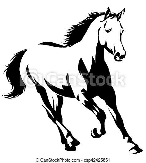 dessin cheval noir et blanc