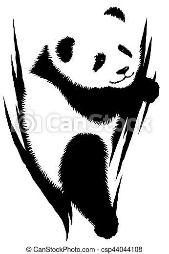 Dessiner Linéaire Illustration Peinture Noir Blanc Panda
