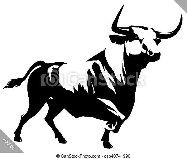 Dessiner lin aire illustration peinture vecteur noir - Dessin de toro ...