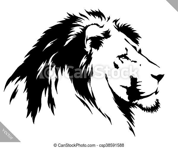 Dessiner Linéaire Illustration Peinture Lion Vecteur Noir Blanc