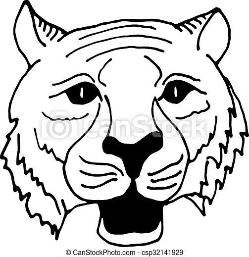 Dessiner Style Main Tigre Noir Blanc Tête être Dessiner