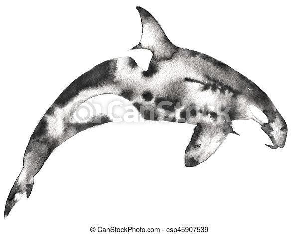 Dessiner Tueur Illustration Eau Encre Noire Monochrome Blanc