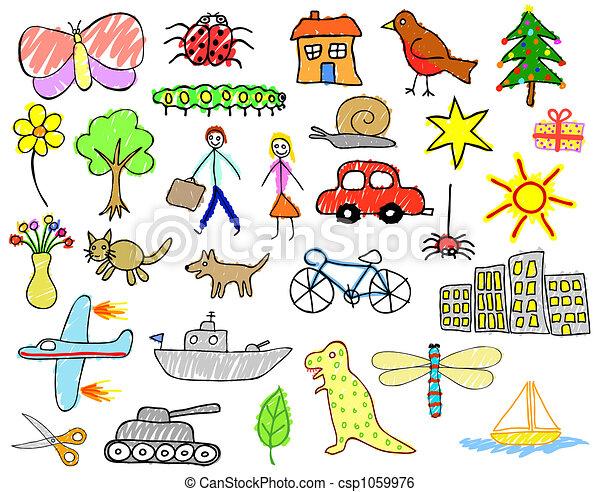 dessins, enfant - csp1059976