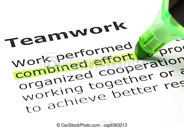 """""""esfuerzo combinado"""" subrayado, bajo el """"trabajo de equipo"""" - csp6363213"""