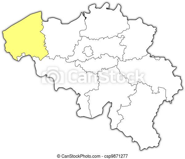 Mapas De Belgium Flanders Del Oeste Resaltados Un Mapa Politico